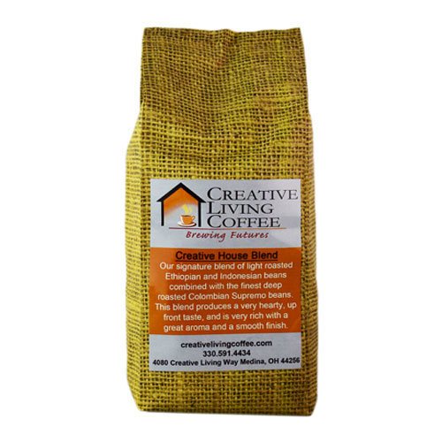 picture of the creative living house blend coffee bag with a white background