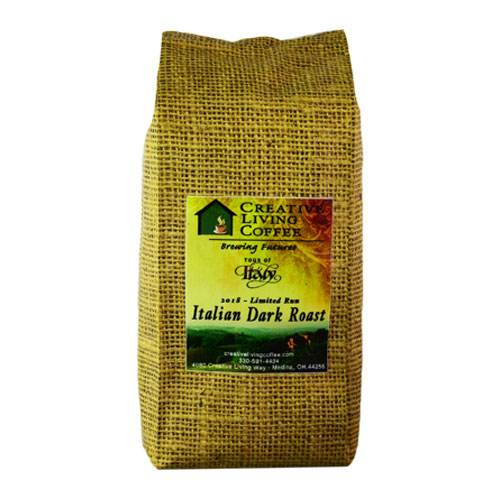 picture of the creative living coffee italian dark roast bag with a white background