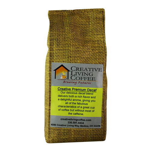 picture of the creative living coffee decaf coffee blend with a white background