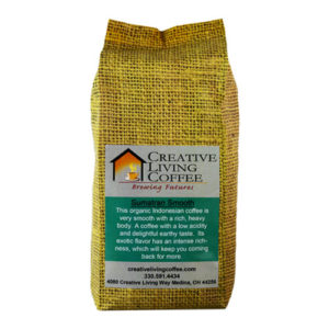 picture of the creative living coffee sumatran smooth roast with a white background