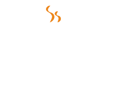 picture of a white coffee cup icon with white and orange steam coming out of the cup and a white border to the right and bottom of the cup